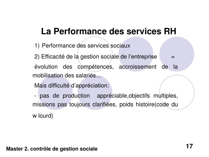 La Performance des services RH