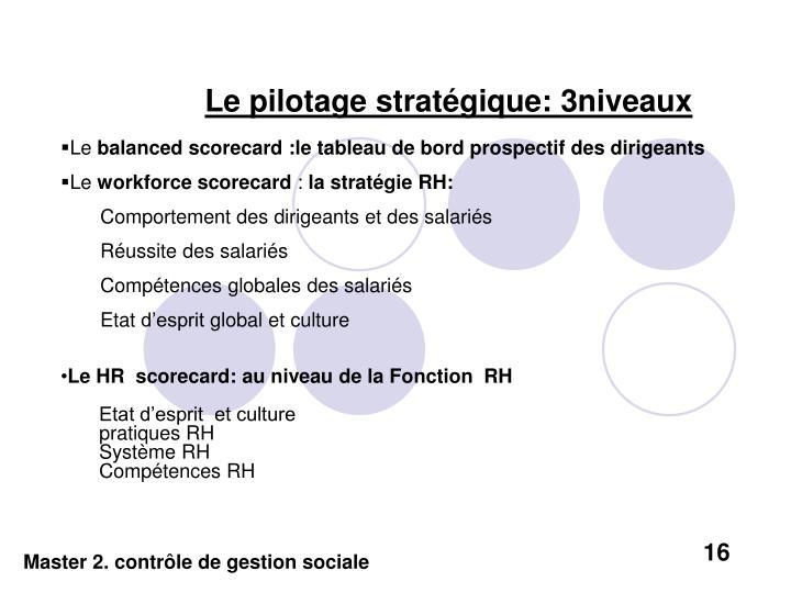Le pilotage stratégique: 3niveaux