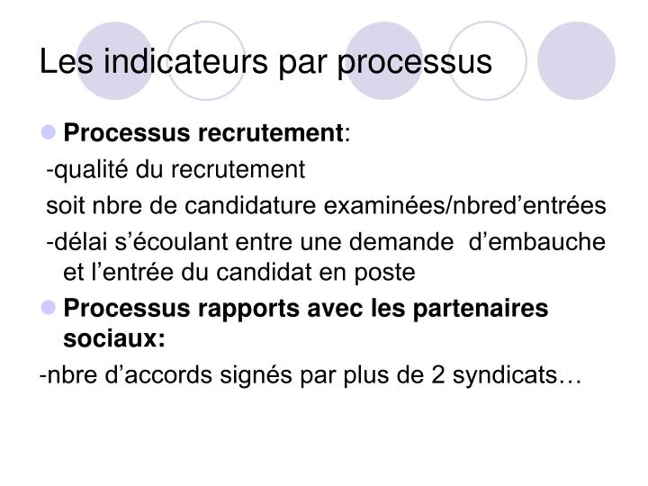 Les indicateurs par processus
