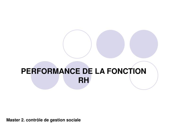 Performance de la fonction rh
