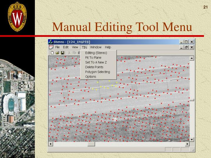 Manual Editing Tool Menu