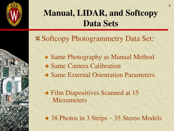 Manual, LIDAR, and Softcopy Data Sets