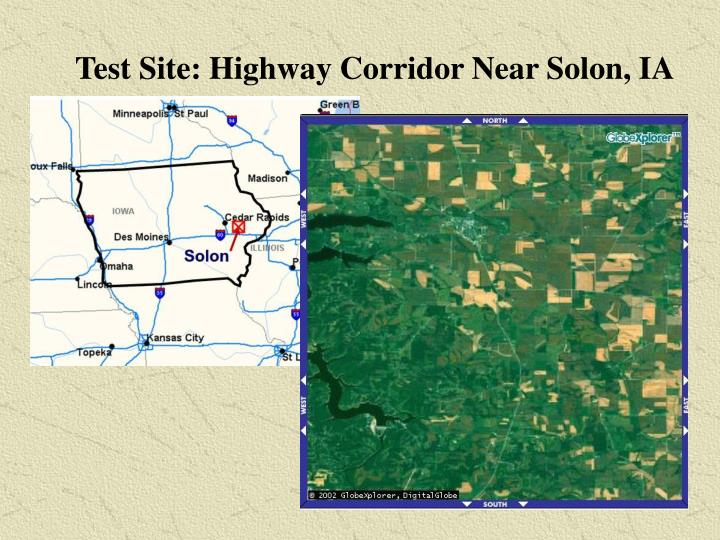 Test site highway corridor near solon ia