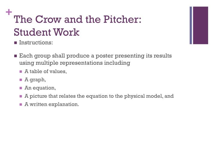 The crow and the pitcher student work