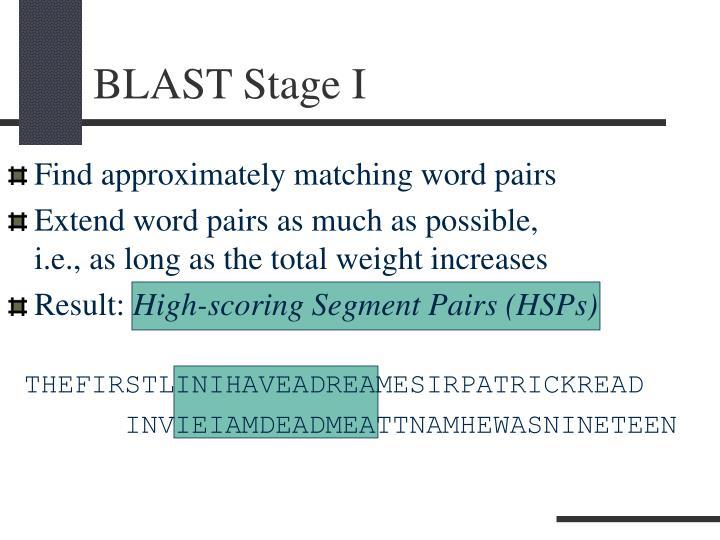 BLAST Stage I