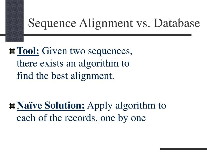 Sequence alignment vs database1