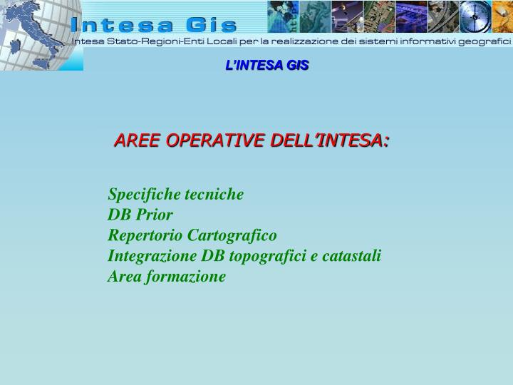 AREE OPERATIVE DELL'INTESA: