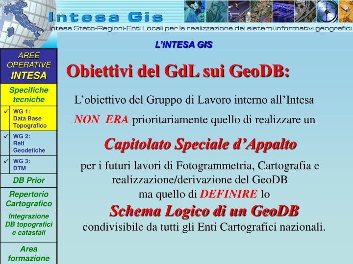 Obiettivi del GdL sui GeoDB: