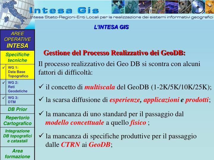 Gestione del Processo Realizzativo dei GeoDB: