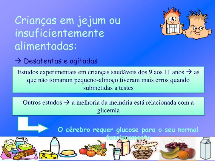 Crianças em jejum ou insuficientemente alimentadas: