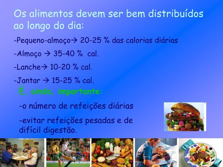 Os alimentos devem ser bem distribuídos ao longo do dia: