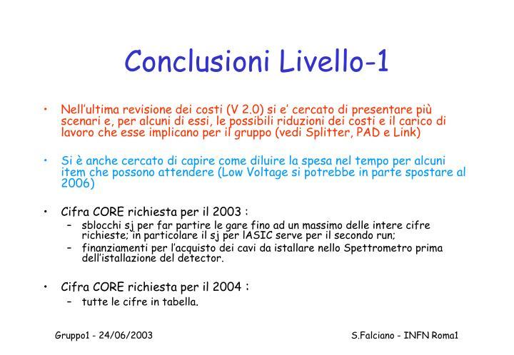 Conclusioni Livello-1