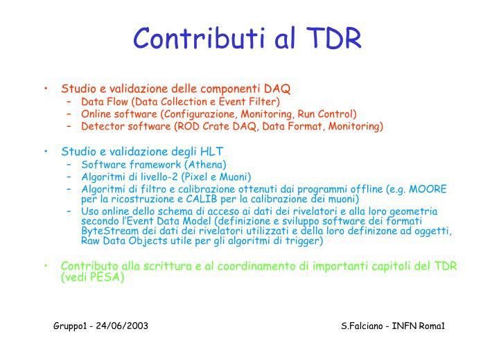 Contributi al TDR