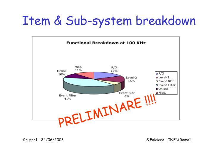 Item & Sub-system breakdown