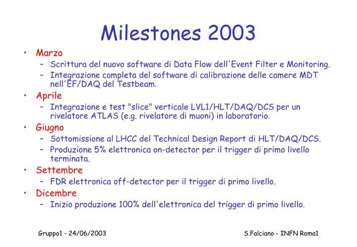 Milestones 2003
