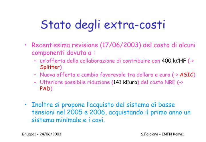 Stato degli extra-costi