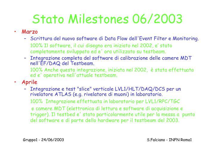 Stato Milestones 06/2003