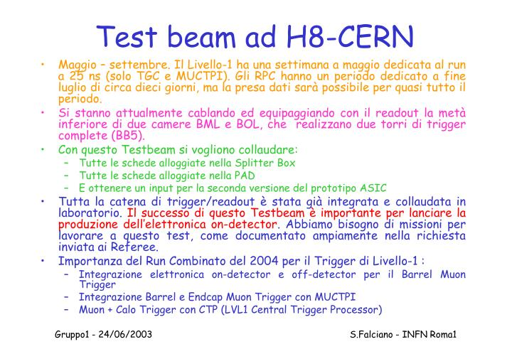 Test beam ad H8-CERN