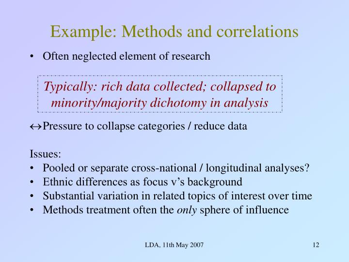 Example: Methods and correlations