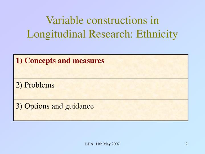 Variable constructions in longitudinal research ethnicity