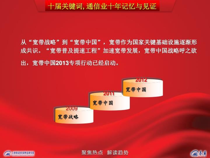 """从""""宽带战略""""到""""宽带中国"""",宽带作为国家关键基础设施逐渐形成共识。""""宽带普及提速工程""""加速宽带发展,宽带中国战略呼之欲出,宽带中国"""