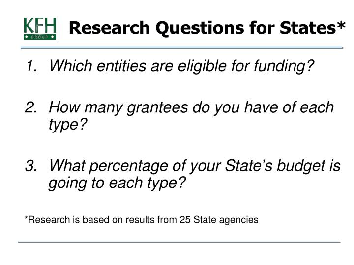 Research Questions for States*