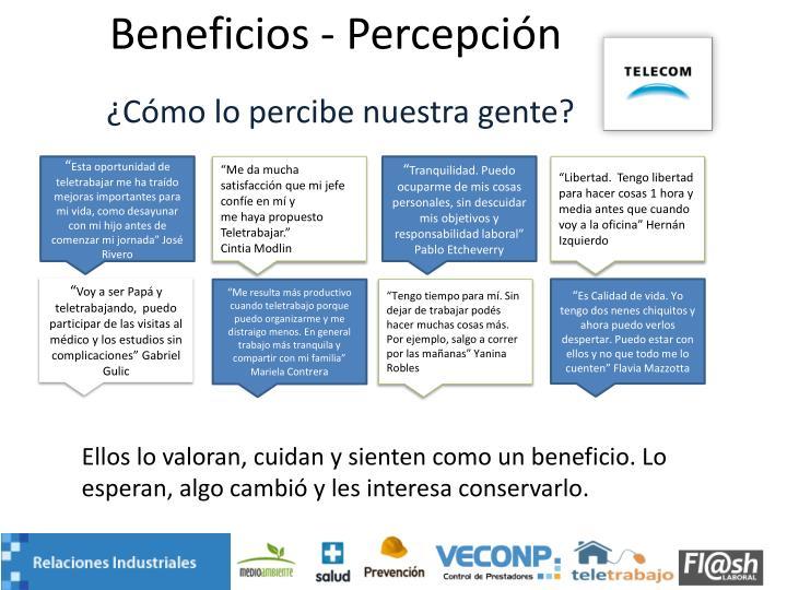 Beneficios - Percepción