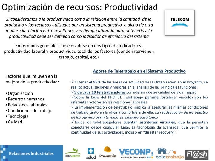 Optimización de recursos: Productividad