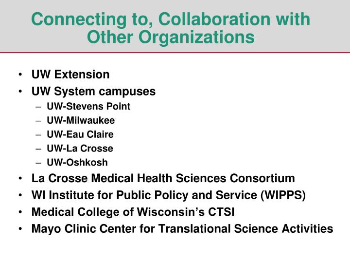 Connecting to, Collaboration with Other Organizations