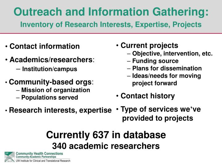 Outreach and Information Gathering: