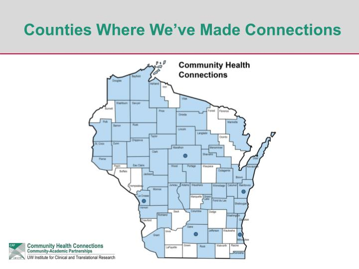 Counties Where We've Made Connections