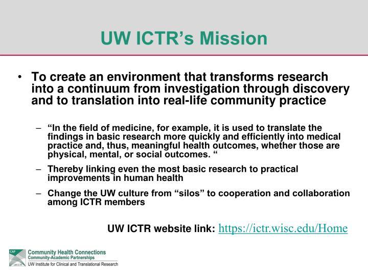 UW ICTR's Mission