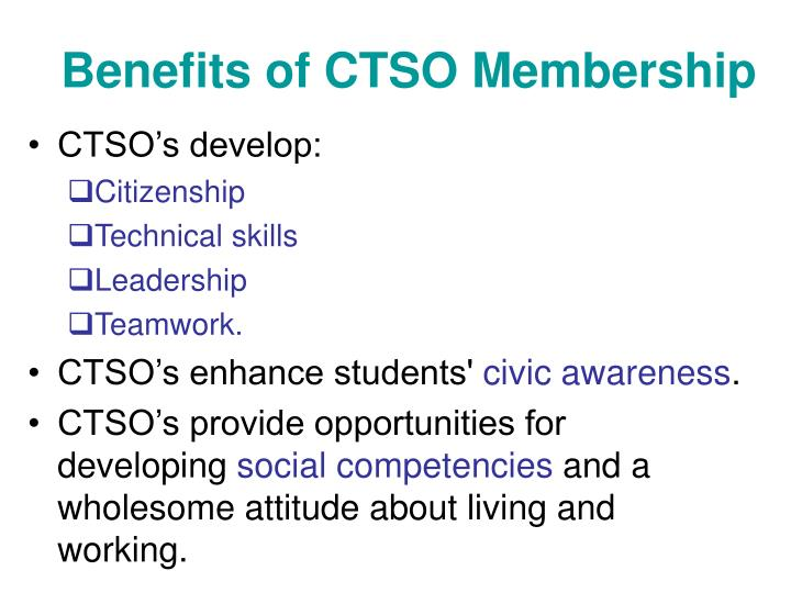 Benefits of CTSO Membership