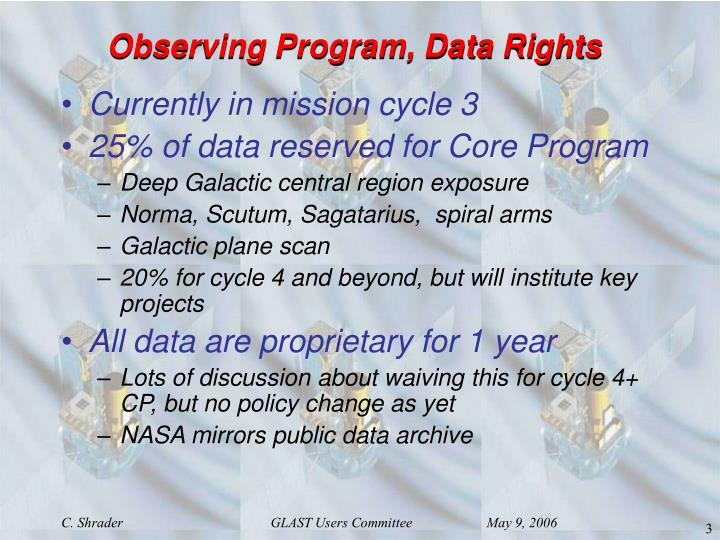 Observing Program, Data Rights