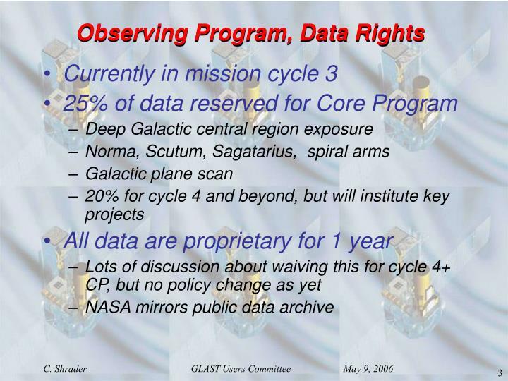 Observing Program, Data Rights
