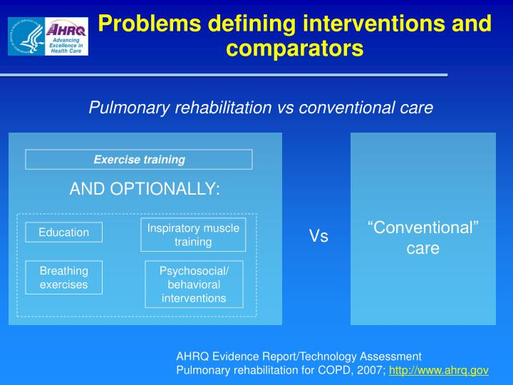 Problems defining interventions and comparators