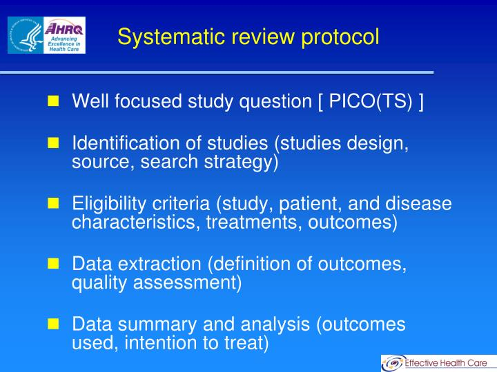 Systematic review protocol
