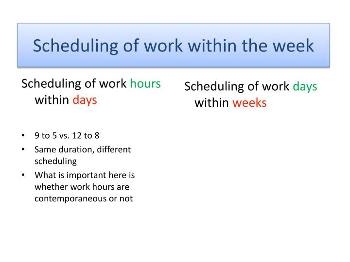 Scheduling of work