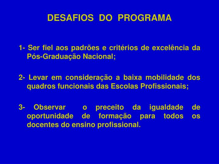 DESAFIOS  DO  PROGRAMA