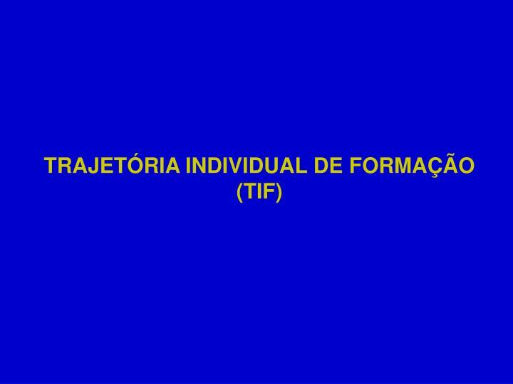 TRAJETÓRIA INDIVIDUAL DE FORMAÇÃO