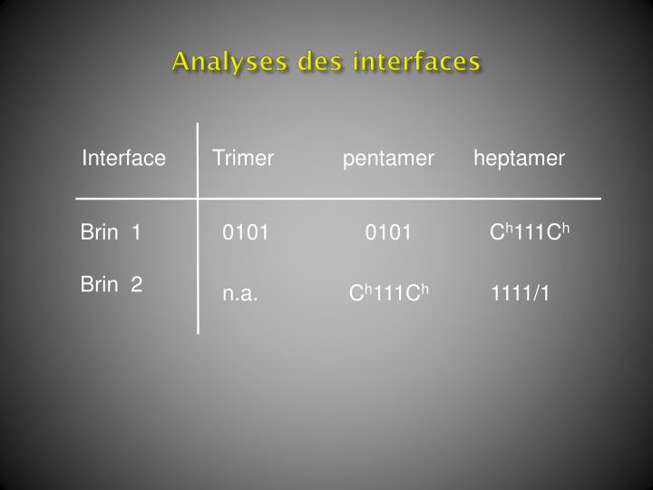 Analyses des interfaces