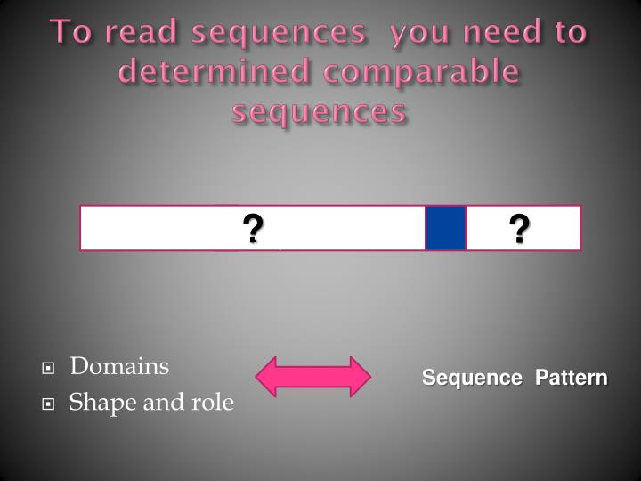 To read sequences  you need to determined comparable sequences