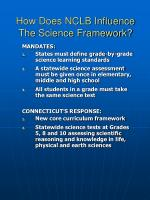 how does nclb influence the science framework