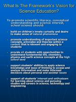 what is the framework s vision for science education