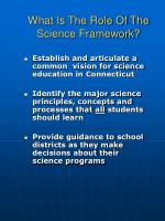 what is the role of the science framework