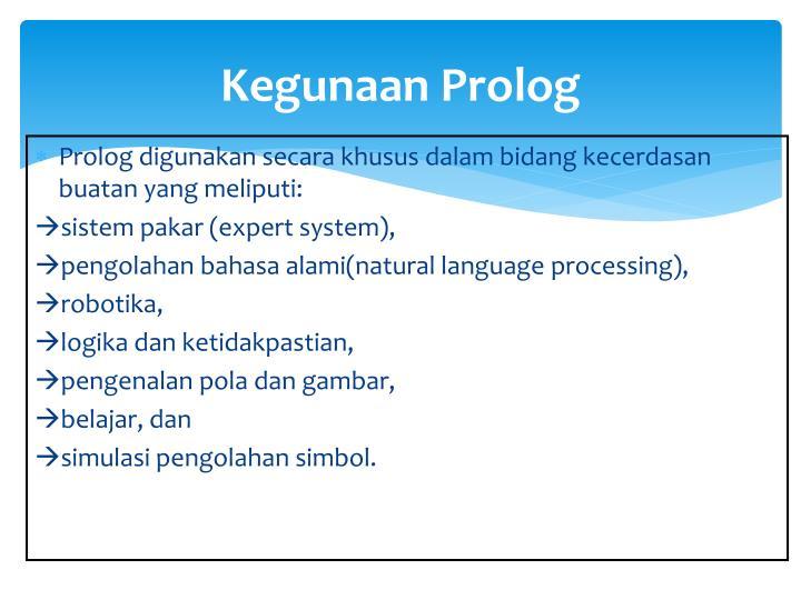 Kegunaan Prolog
