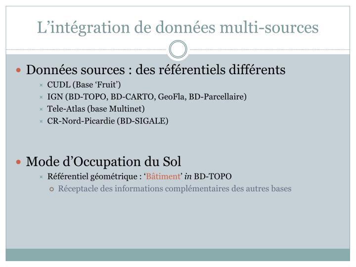 L int gration de donn es multi sources