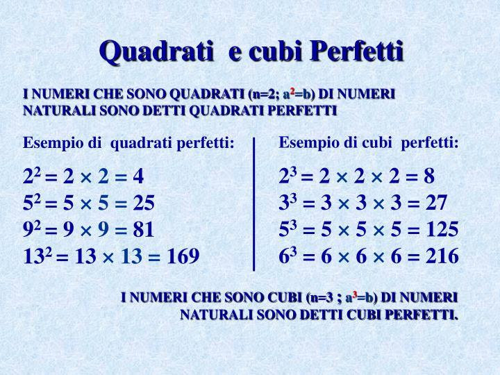 Quadrati  e cubi Perfetti