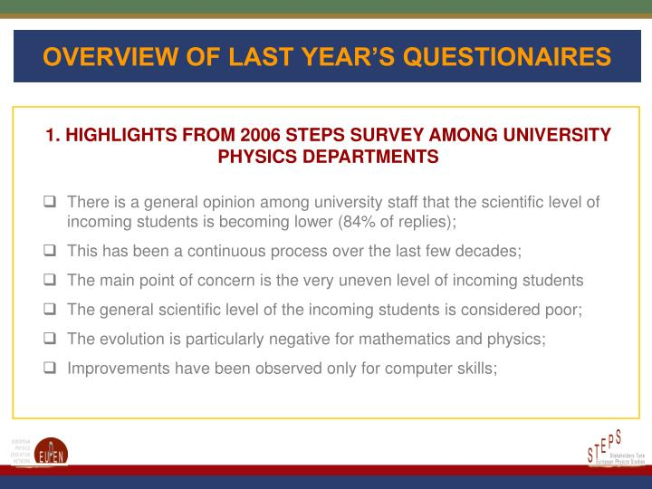 OVERVIEW OF LAST YEAR'S QUESTIONAIRES