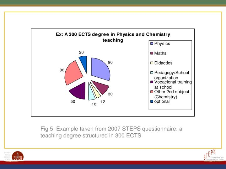 Fig 5: Example taken from 2007 STEPS questionnaire: a teaching degree structured in 300 ECTS
